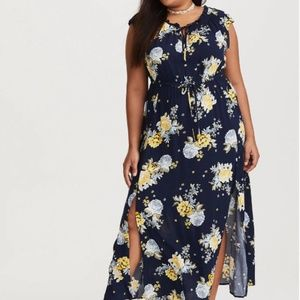 Torrid Navy Floral Tie Front Challis Maxi Dress